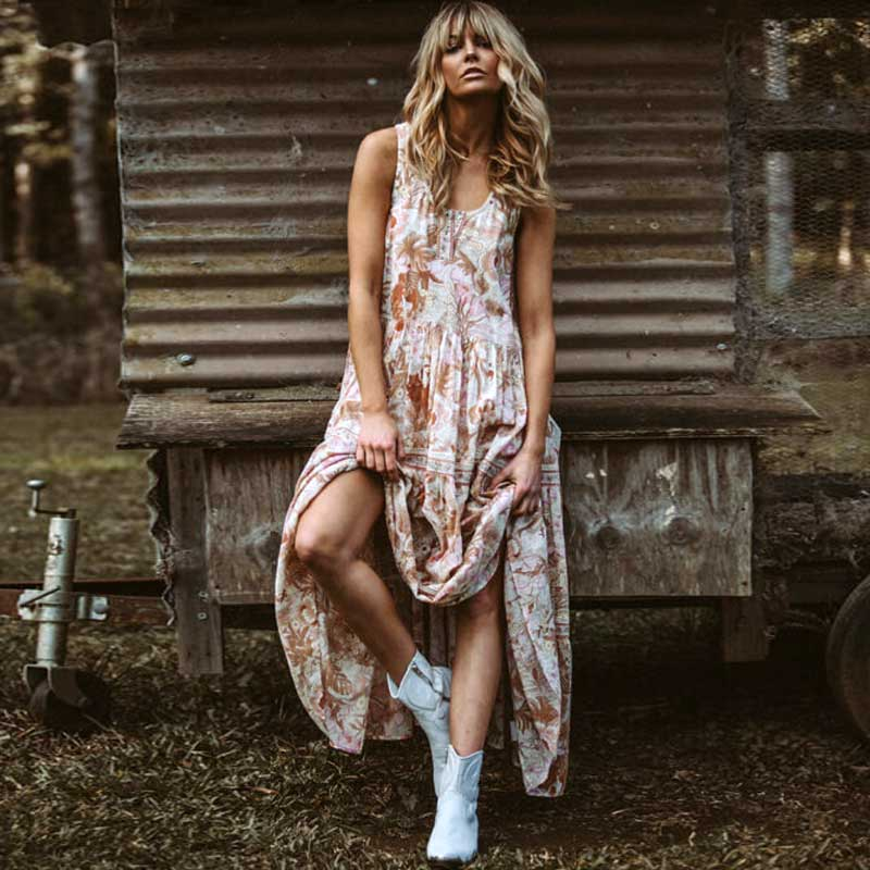 77bc048d67452 Delirium Smock Print Long Dress Women 2018 Summer Autumn Sexy ...