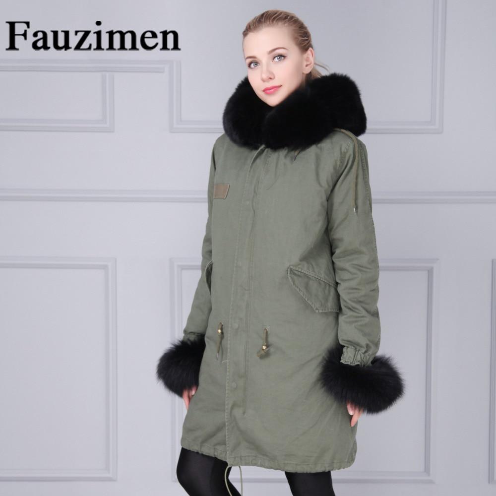 Parka Fausse Veste Noir Long Fourrure Doublé Fshion Col Grand Green De army Manteau Or Chaude En Femmes Hiver 7wRv6