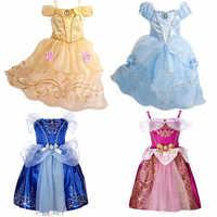 c6a523c858a Летние платья для девочек Дети Золушка Белоснежка Косплэй костюм платье  принцессы для маленьких девочек Рапунцель и