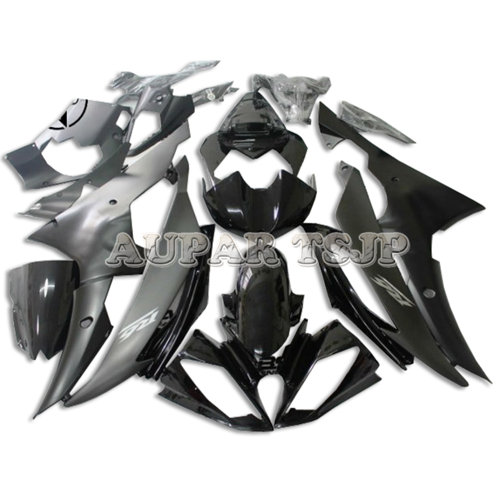 Black Matte Grey Body Frames <font><b>for</b></font> <font><b>Yamaha</b></font> YZF-600 <font><b>2008</b></font> 2009 2010 2011 2012 2013 2014 2015 2016 <font><b>R6</b></font> ABS <font><b>Plastic</b></font> Injection Covers image