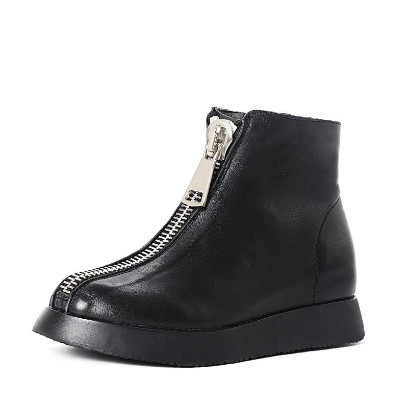 Фото JELLYFOND Cowhide Genuine Leather Ankle Boots Women Original Designer Front Zipper Platform Boots Handmade Shoes Woman Black