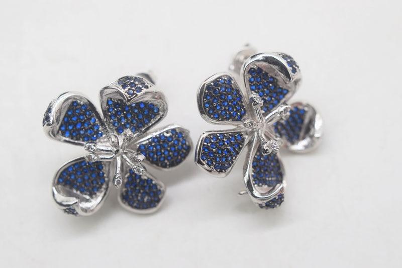 one pair blue flower zircon earrings wholesale beads nature FPPJ