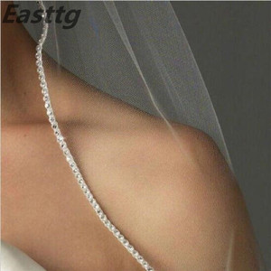 Image 2 - الشمبانيا الأبيض العاج إكسسوار زفاف 3M كاتدرائية كريستال حافة طرحة زفاف مخصص طول 1 الطبقة الزفاف الحجاب مع مشط