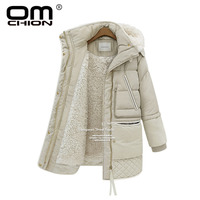 OMCHION 3XL Thicken Outcoat 2018 Plus Size Winter Coat Women Loose Hooded Korean Style Fashin Down Jacket Casual Parka NY20