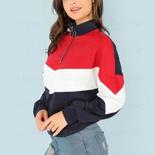 2018 Women Patchwork Hoodies Sweatshirts Long Sleeve Autumn Zipper Top Ladies Colorblock Pullovers Female Baseball