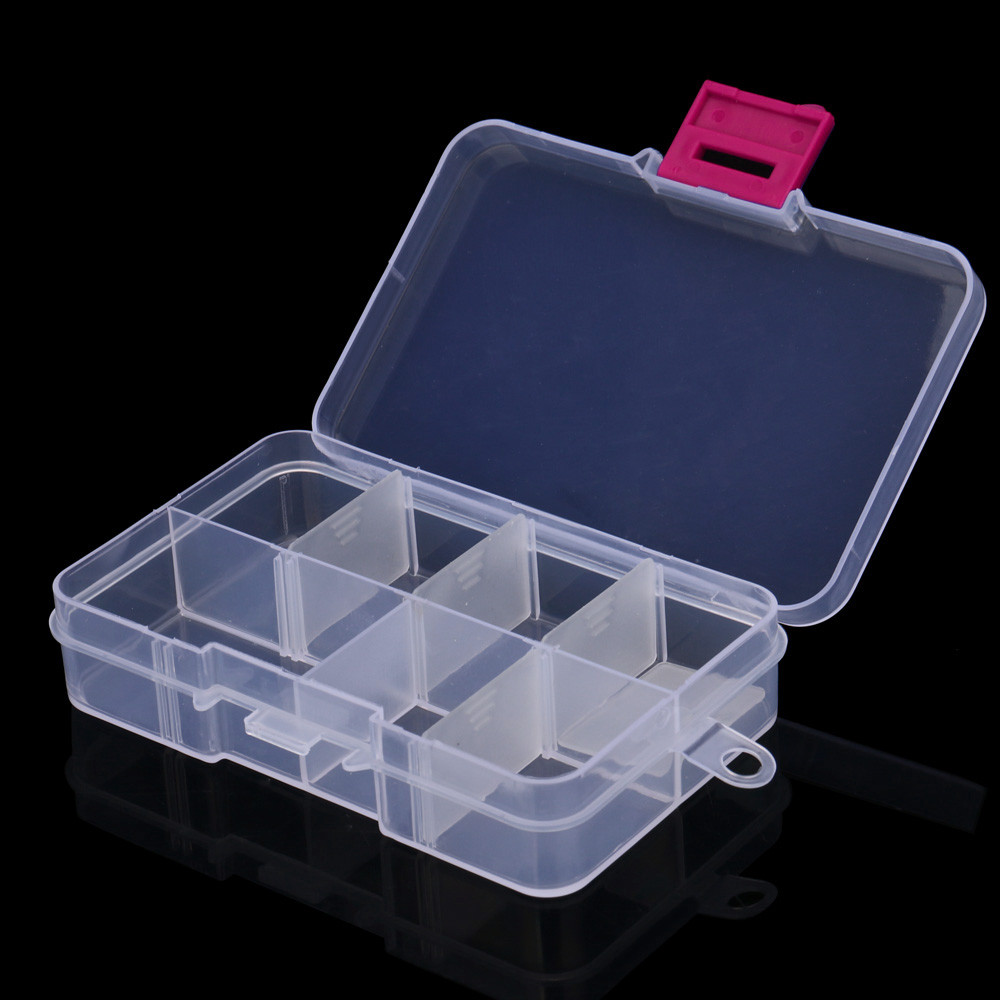Craft Organizer Storage-Box Jewelry Case-Holder Transparent Plastic 8-Slots Bead Adjustable