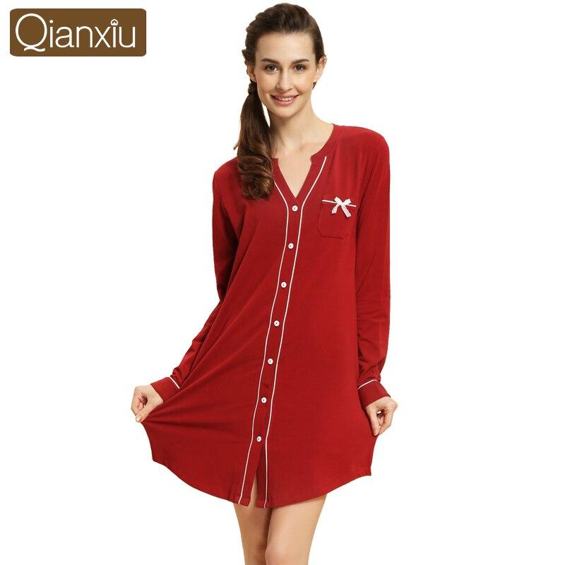 Qianxiu 2018 spring modal cotton sleepwear women Plus Size Sexy bowknot v-neck nightwear woman long sleeve cardigan sleep wear
