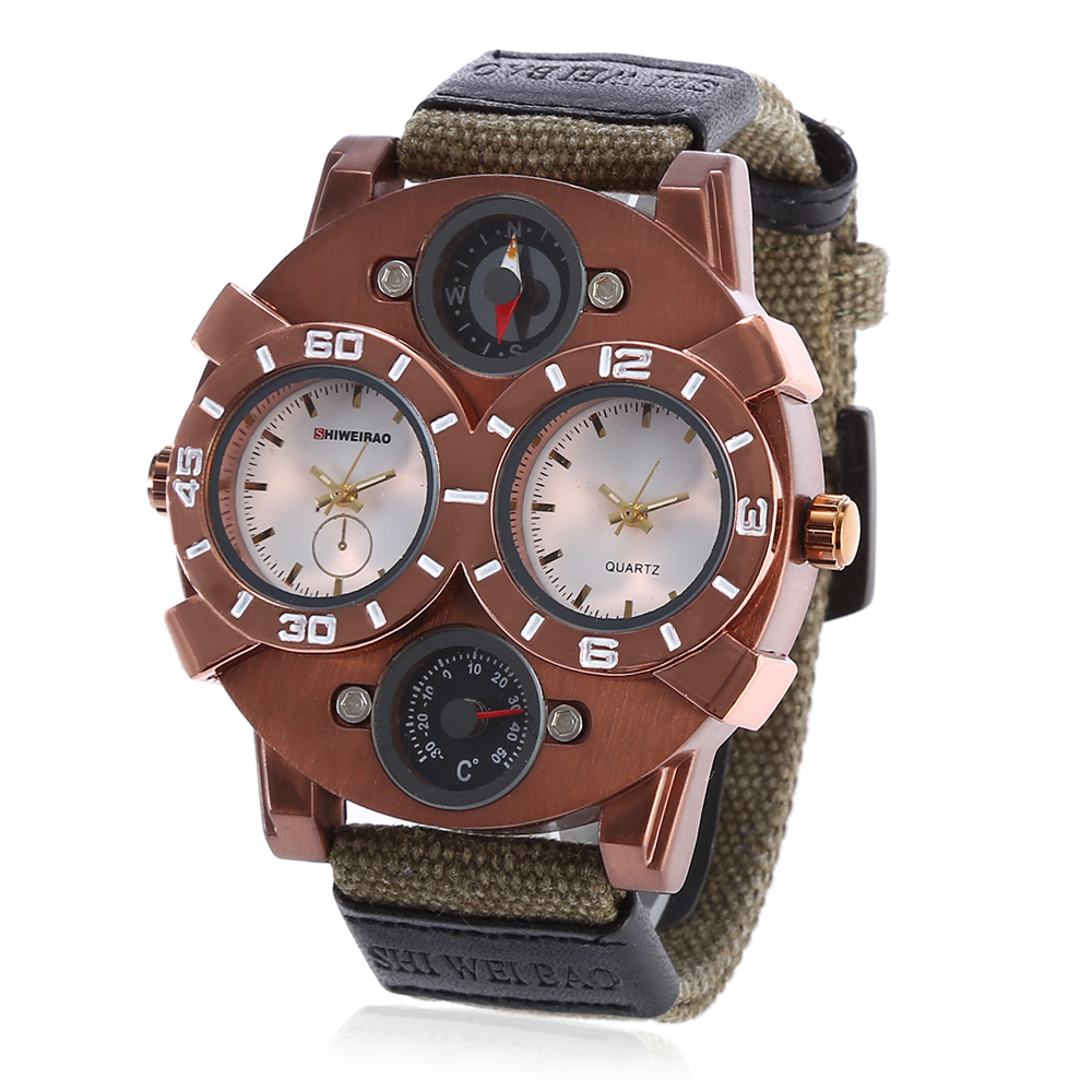 Quartz Watch Men Military Watches Sport Wristwatch Canvas Watchband Dual Times Relogio Masculino Casual Mens Big Watches Hours