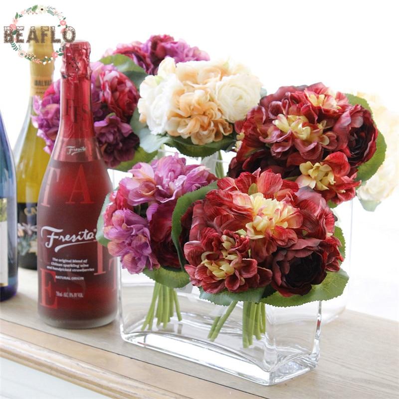 12PCs / 1Bunch Umělá květina Dahlia Pivoňka s hedvábnou stuhou Svatební Buoquet Svatební domácí párty dekorativní 3 barvy