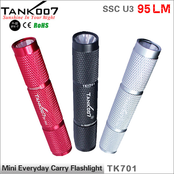 PC Tank007 TK701 CREE SSC LED 1 Mode 90 LM Waterproof Hand Mini Camping HIking Torch By 1*AAA/1*10440 Battery Flashlight