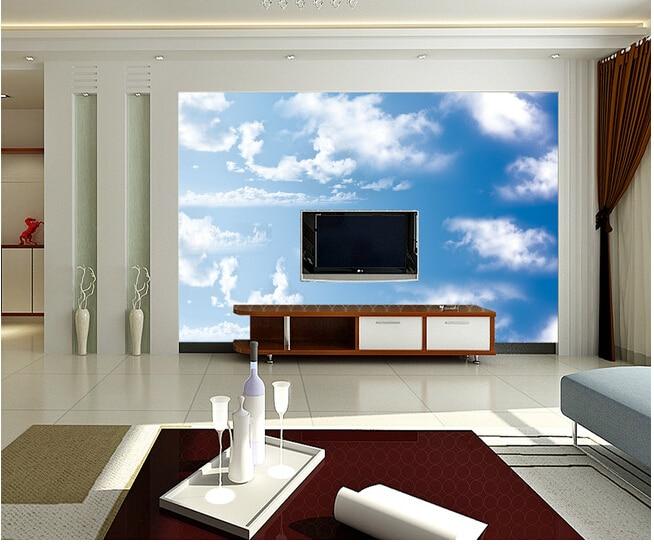 Custom papel DE parede infantil large murals blue sky white clouds to the sitting room TV wall vinyl which papel DE parede