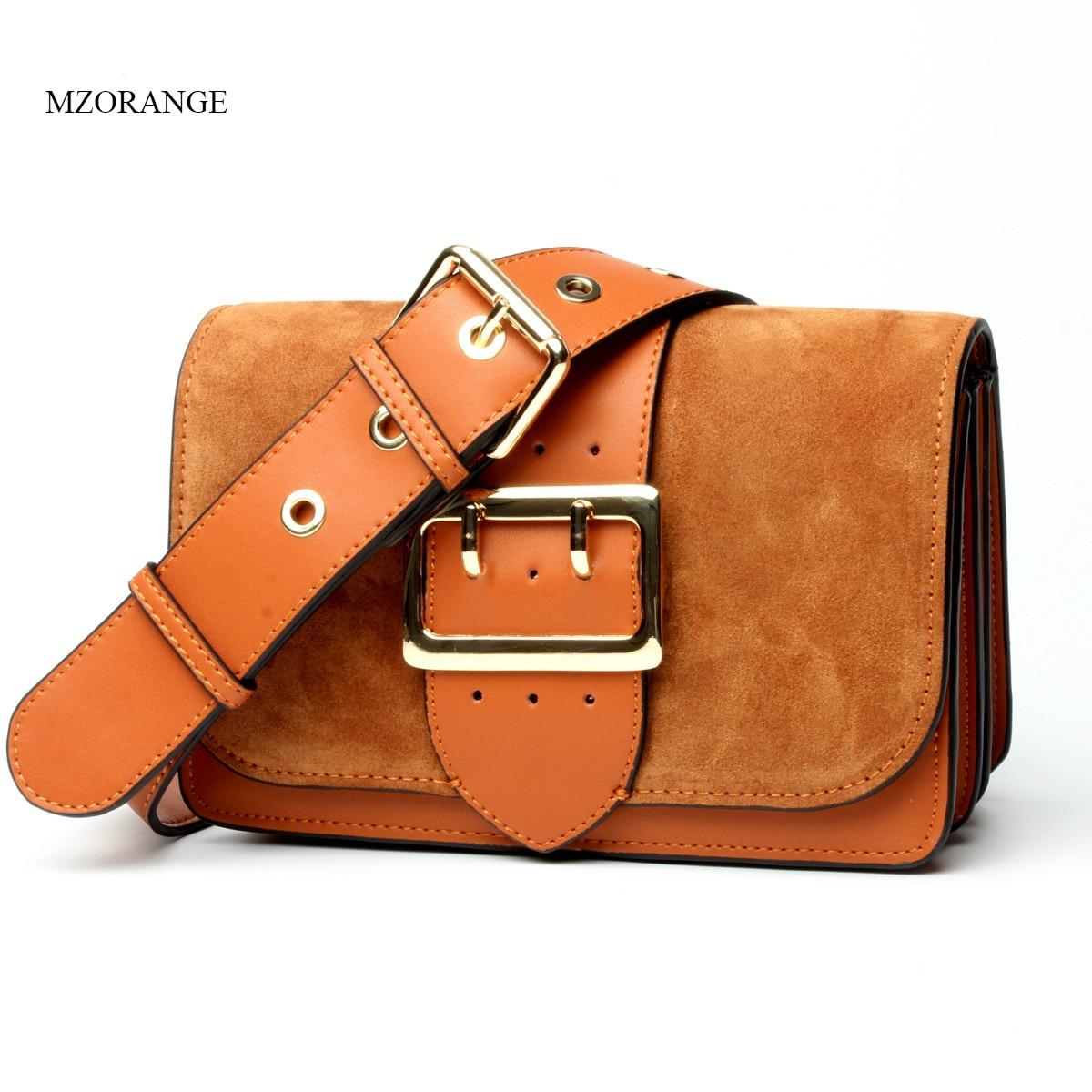 MZORANGE Women Genuine Leather Shoulder Bags Fashion Scrub Small Handbags Wide Belt Organ Design Ladies Mini Crossbody Bags