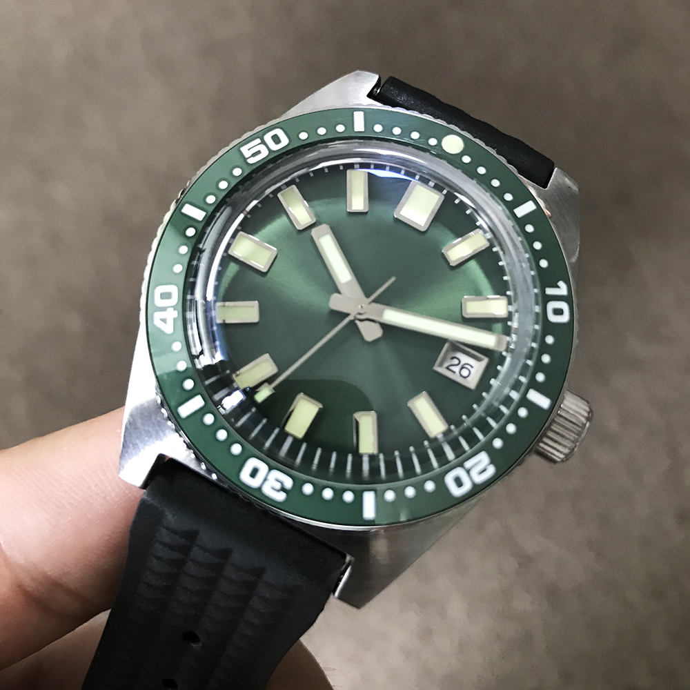 San Martin New 62MAS Automatic Watches 200m Water Resistant green Ceramic bezel Stainless Steel diving Wristwatch