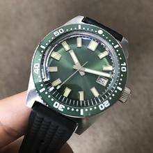 San martin relógios de pulso automáticos, novo, 62mas, relógios 200m de aço inoxidável, resistente à água, safira, mostrador verde, para homens, pulseira de mergulho