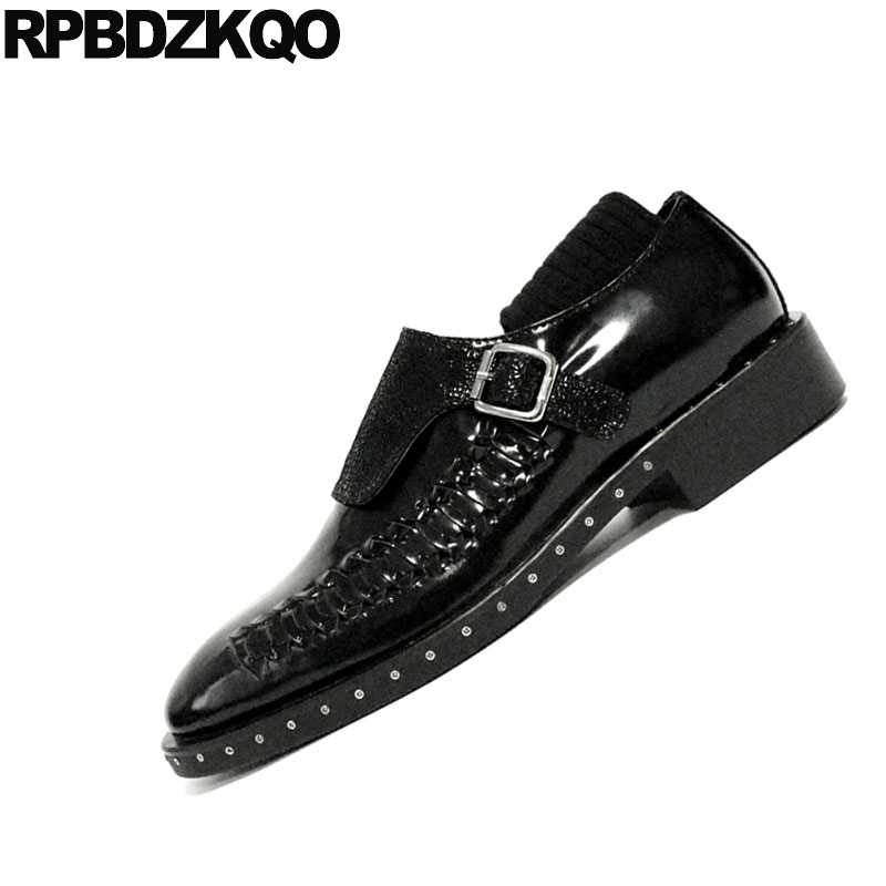 44034883090b2 Stud Runway Black Office Plus Size Italian Brand Rivet Real Leather  Footwear Monk Strap Men Dress Shoes With Buckled Italy Metal
