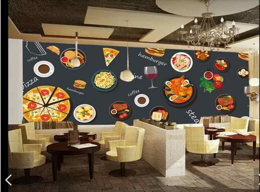 Hamburger FAST RESTAURANT Wallpaper 3D Wall Mural for Walls Living Room Bedroom Wall Decor PIZZA Coffee q50