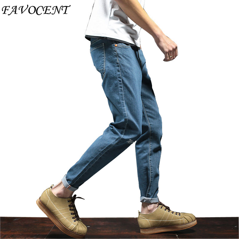 2017 Spring New style men's denim trousers stretch jeans Slim straight casual jeans, multicolor pants big yards Free shipping 2017 new designer korea men s jeans slim fit classic denim jeans pants straight trousers leg blue big size 30 34