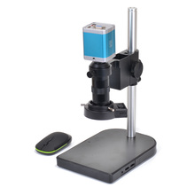 1080P VGA Full HD Industrial Microscope Camera SD Video Recorder + 100X Zoom C-MOUNT Lens 40 LED Light