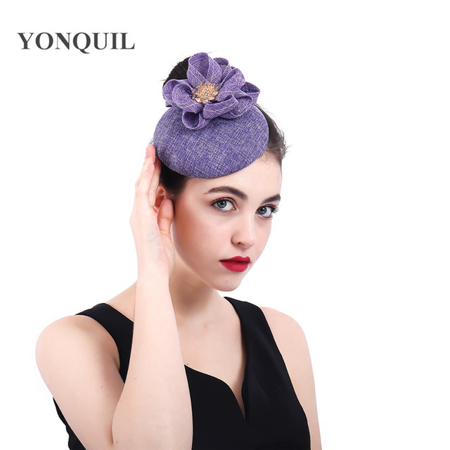 Lavender Elegant Fascinators flower handmade wedding hat bridal married  church fedora chapeau lady pillbox caps hair 2bb04342550