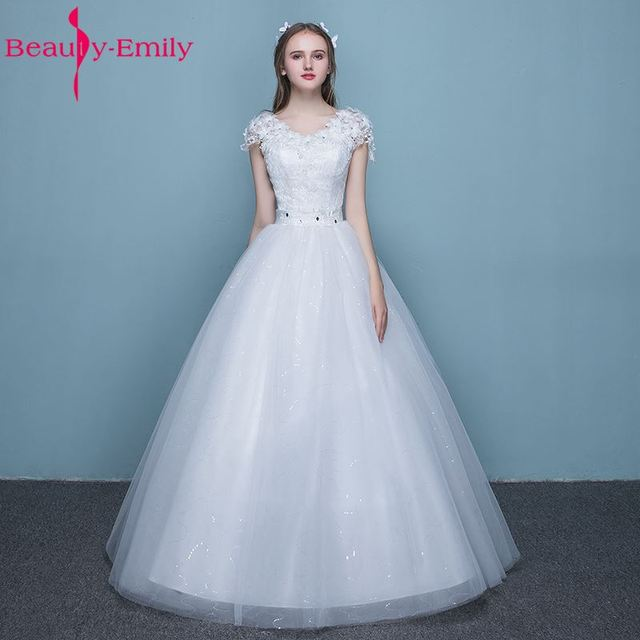Beauty Emily Simple White Cheap Long Wedding Dresses 2017 Lace Up ...
