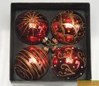 Red Color Xmas Balls 8CM DIAMETER BALL Christmas Tree Decoration Christmas Supplies Gift 4PCS PACK