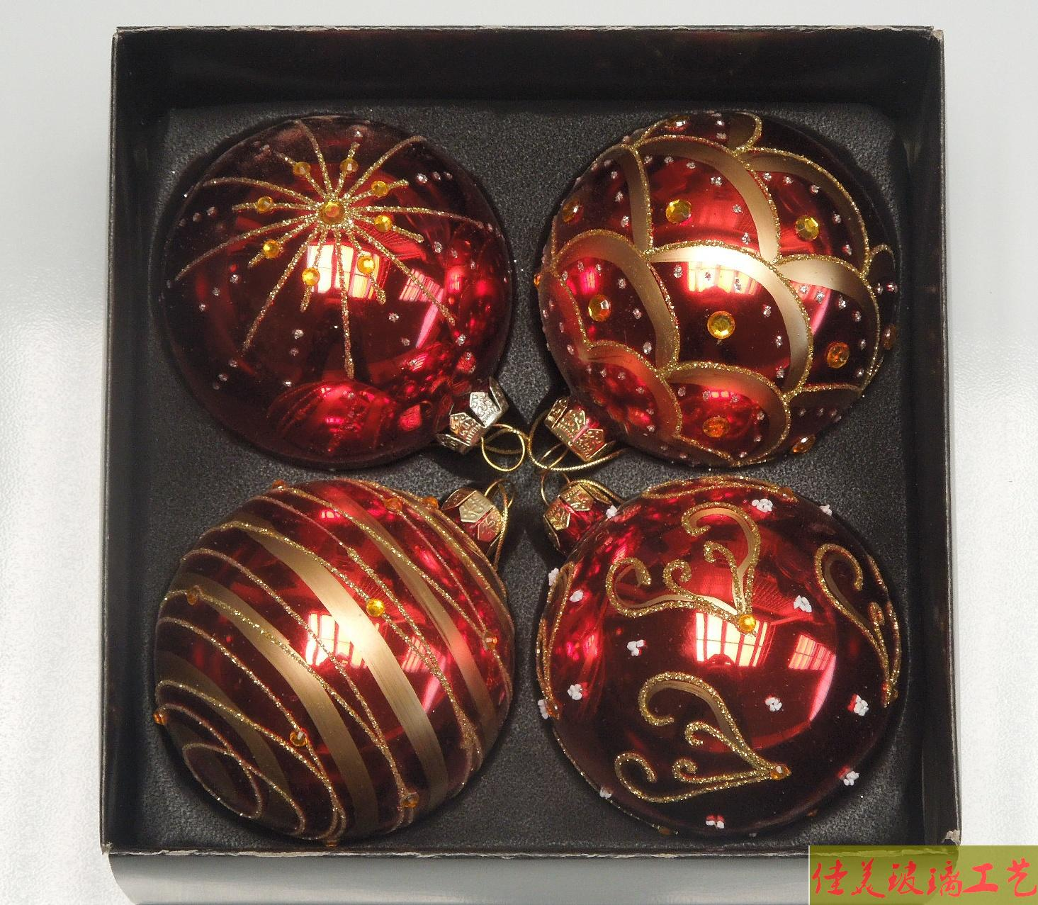 Red glass ball ornaments - Red Color Xmas Balls 8cm Diameter Ball Christmas Tree Decoration Christmas Supplies Gift 4pcs Pack
