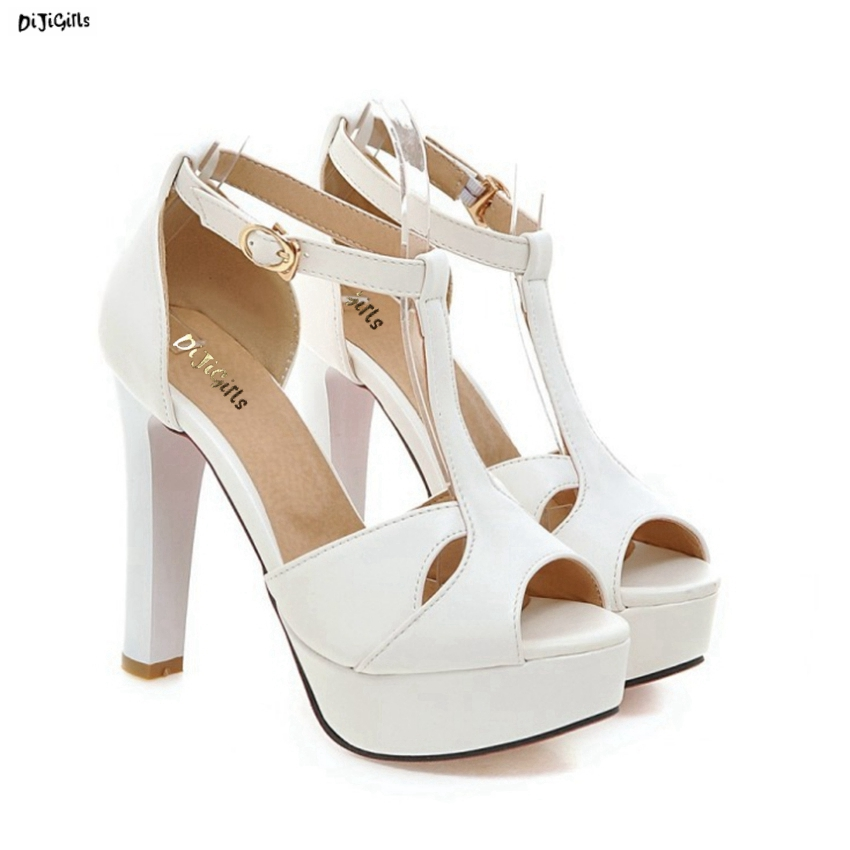 Women Fashion Ankle Strap Platform Sandals Sexy High Heels Open Toe Plus Size Summer Party Shoes Woman mg969653 plus size 30 43 woman shoes women ankle strap high heel sandals new arrival trend fashion casual sexy party summer women shoes