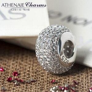 Image 2 - سوار من ATHENAIE مصنوع من الفضة الإسترليني عيار 925 مزين بخرز شفاف ومزين بأحجار الزركونيا مناسبة لجميع أشكال سوار الحُلي الأوروبي مجوهرات أصلية هدية
