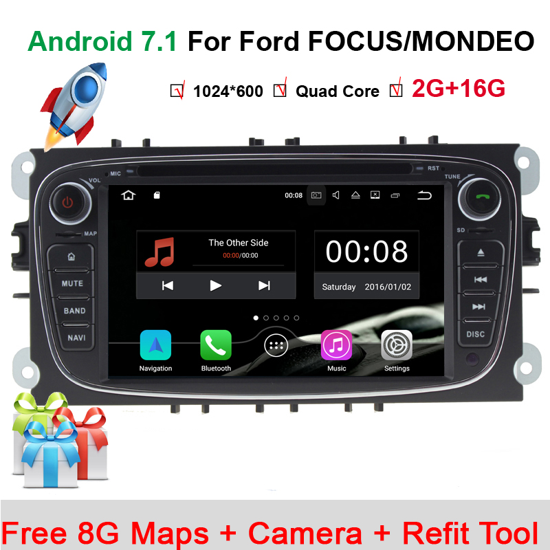 Steering-Wheel 2Din For Ford Focus Mondeo Car DVD Multimedia Player Android 7.11 Bluetooth FM/AM Radio Video Car Rear Camera Map