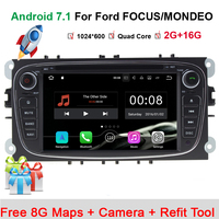 Steering Wheel 2Din For Ford Focus Mondeo Car DVD Multimedia Player Android 7.11 Bluetooth FM/AM Radio Video Car Rear Camera Map