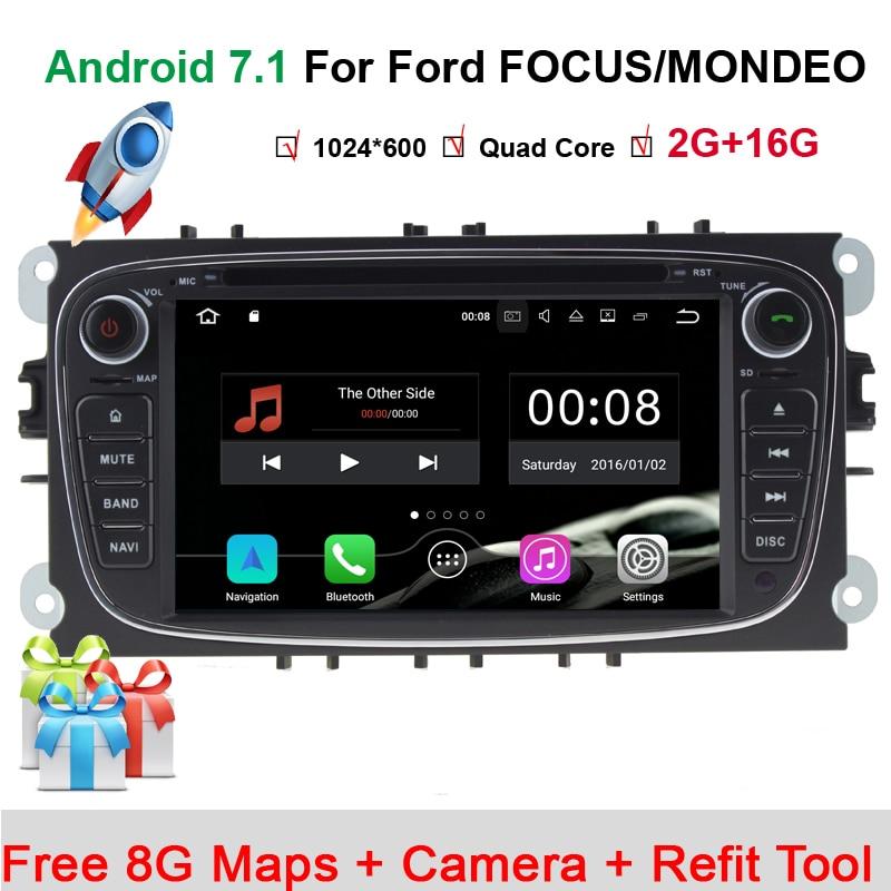 Volant 2Din pour Ford Focus Mondeo voiture lecteur DVD multimédia Android 7.11 Bluetooth FM/AM Radio vidéo voiture caméra arrière carte