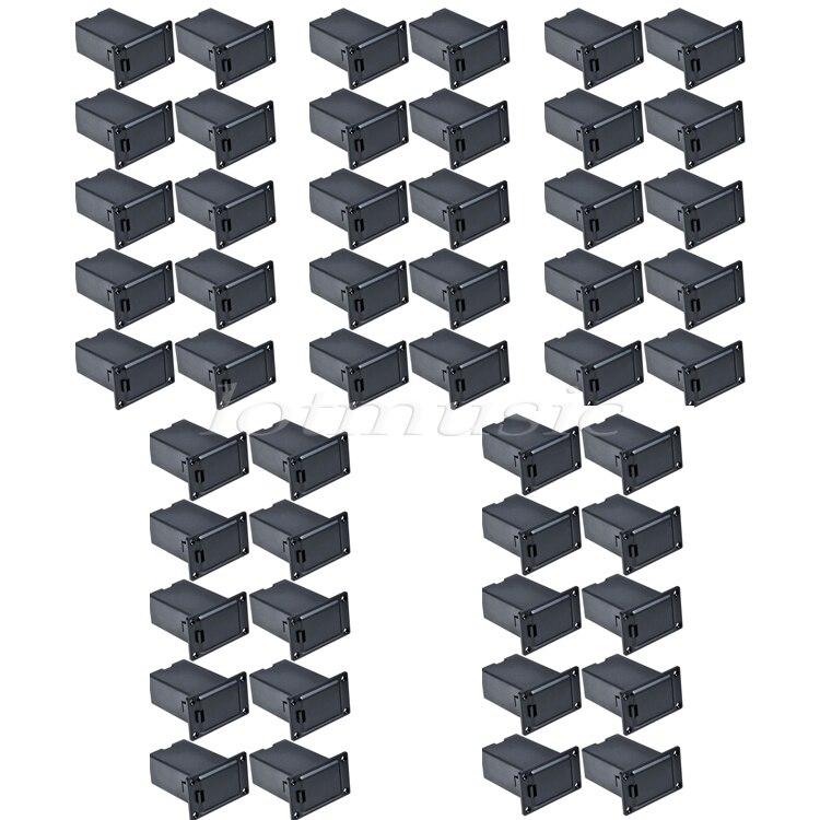 50 pièces noir 9 V support de batterie/étui/boîte actif pick-up compartiment carré ABS housse pour guitare basse remplacement
