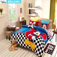 Doce Mickey Mouse jogo de cama de impressão para meninos das crianças dos miúdos decoração da casa de cama de algodão Egípcio roupa de cama de solteiro em tamanho real rainha cobre