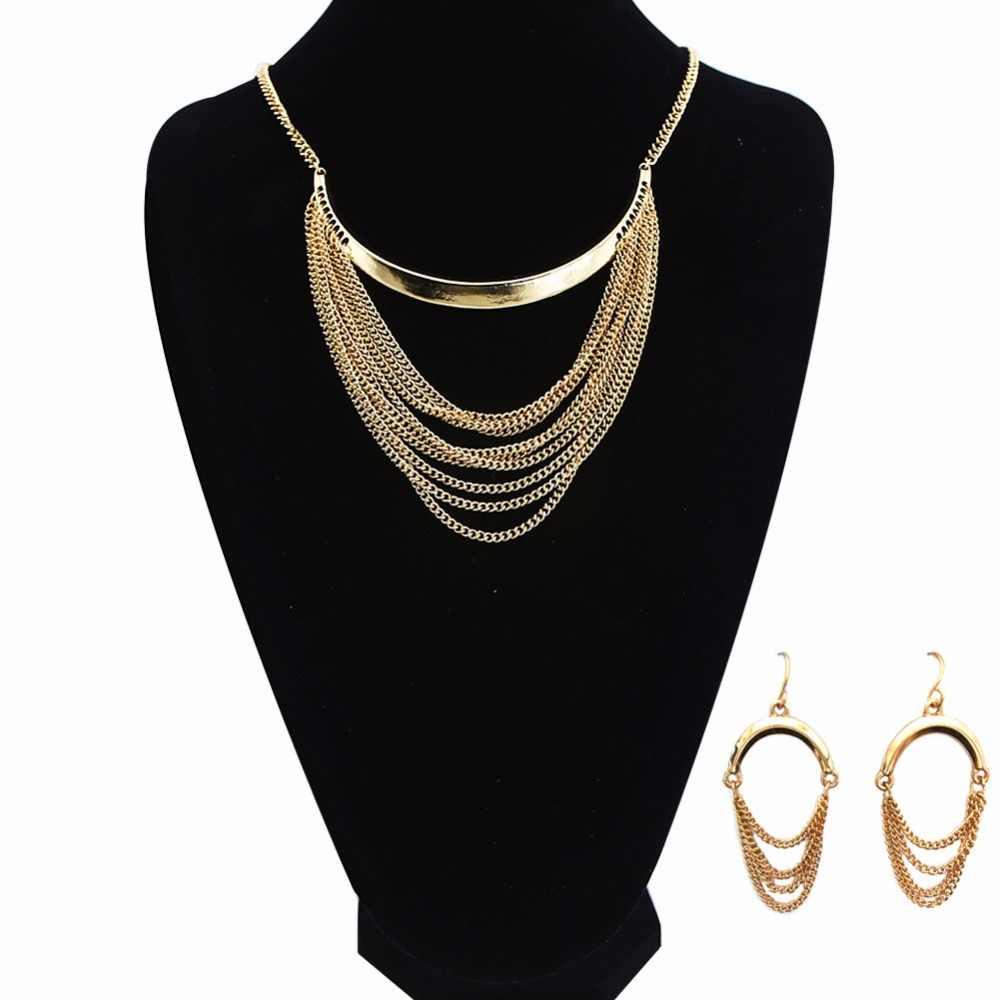 TrinketSea רב שכבתי זהב מגע תחרה שרשרת סט לנשים Drop ביב שרשרת שרשרת עבור בנות אופנה תכשיטים
