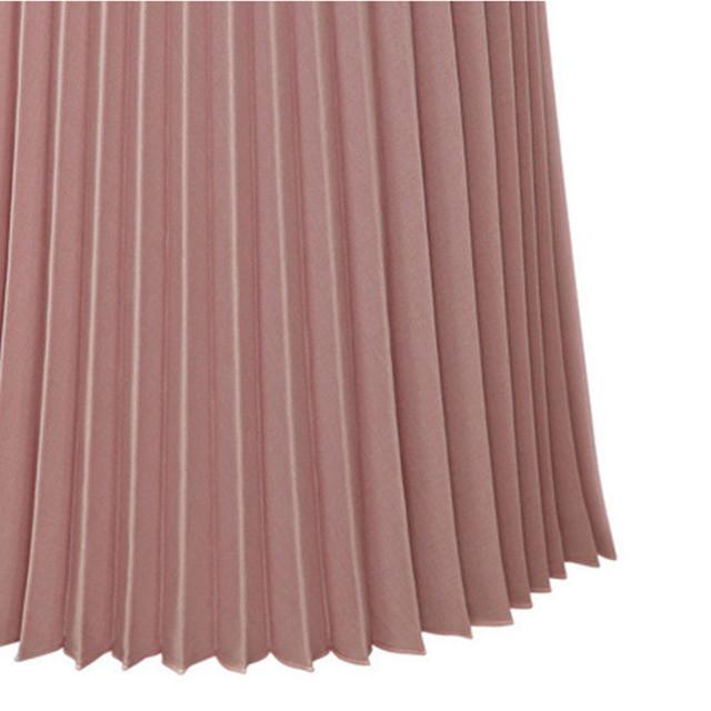 Skirts Women Black Pink color Pleated Elegant Midi Elastic Waist Casual Maxi Dress Mid length Skirt Womens Summer Fashion