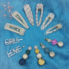 12 Pcs/set Korea Stytle Pearl Hair Clip Crystal Rhinestone Clamp Hairpin Acrylic Hollow Waterdrop Girls Accessories