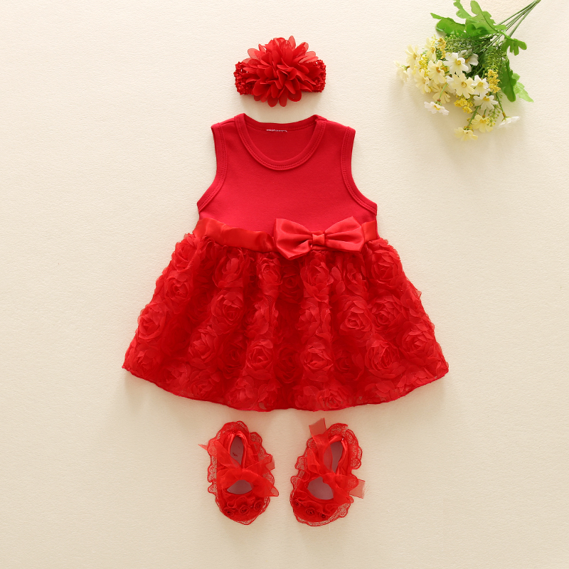 Newborn clothes infant baby girls twins summer dress & headband & shoes set party baby birthday wedding dress baby shower gift