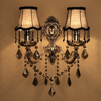 Vintage Silver smoke crystal Wall Light Led sconce for Restaurant Living room Villa Ballroom E14 Antique Led Candle Wall Lamps