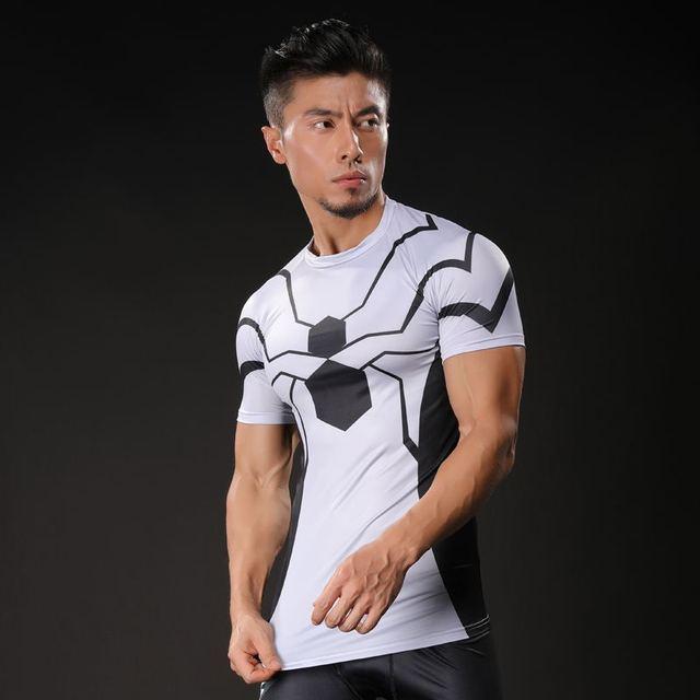 2017 スパイダーマン 3D プリント Tシャツ男性圧縮シャツラグラン半袖クロスフィットフィットネス布トップス男性コスプレ衣装