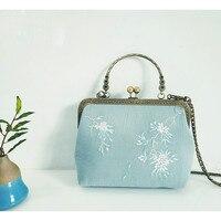 2019 Metal Frame Handbag Retro Handmade Embroidery Flower Bag Shoulder Bag Embroidered Vintage Peony Cherry Blossom