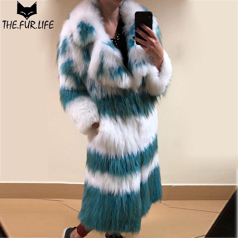 100cm Handmade Knitted Raccoon Dog Fur Coat Real Fur Coats & Jackets For Women Nature Raccoon Dog Furs Overcoats Winter Fashion