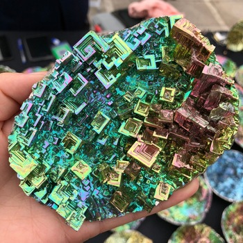Ultra-rare bismuth crystals, used as collectibles and ornaments