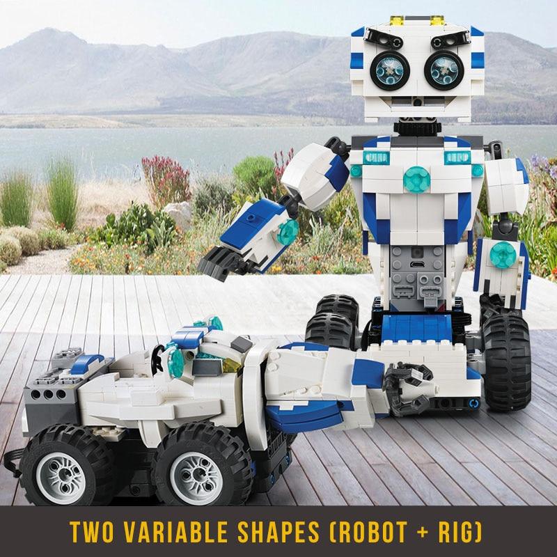Bloques de construcción de Robot Walkable a distancia bloques de Robot creativos juguetes educativos para niños ladrillos de juguete de Control remoto-in Bloques from Juguetes y pasatiempos    2