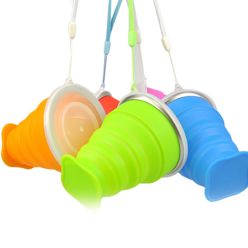 Hot 200mL New Silicone Retractable Folding Tumblerful Telescopic Collapsible Water Bottle With Rope for Outdoor