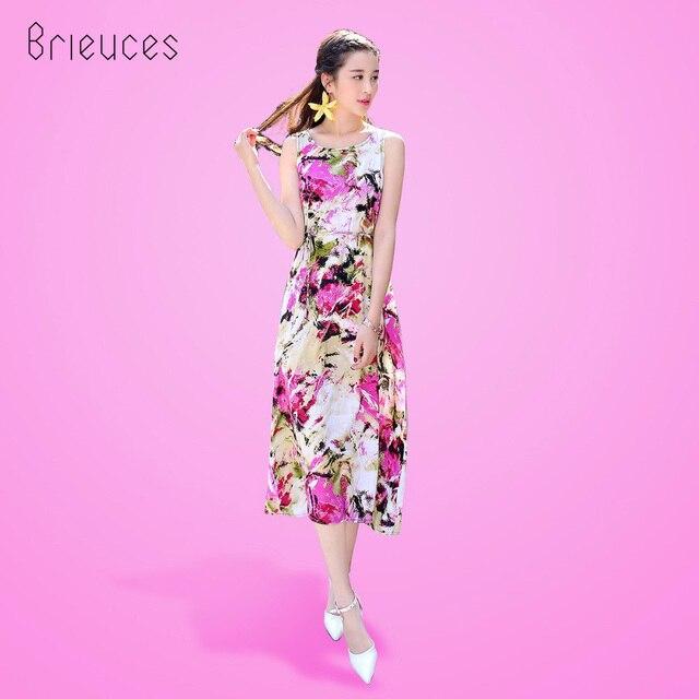 Brieuces 2017 vestido estampado de flores de bohemia de la vendimia ...