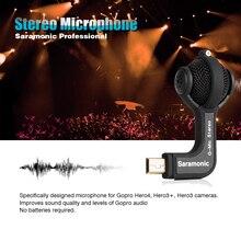 Saramonic profesional micrófono estéreo con micrófono parabrisas para cámaras gopro hero3 hero3 + hero4