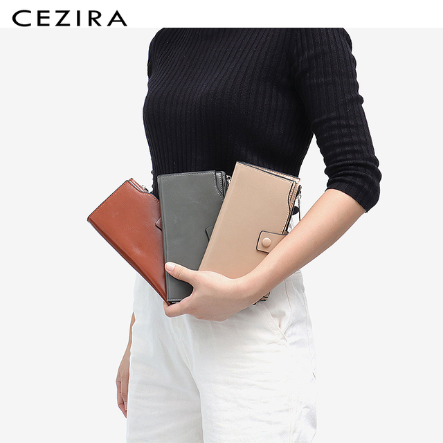 CEZIRA Large Capacity Women Big Wallet Female Cards Holder Multi Function Long Wallet Coin Pocket PU Leather Lady Clutch Purse 1