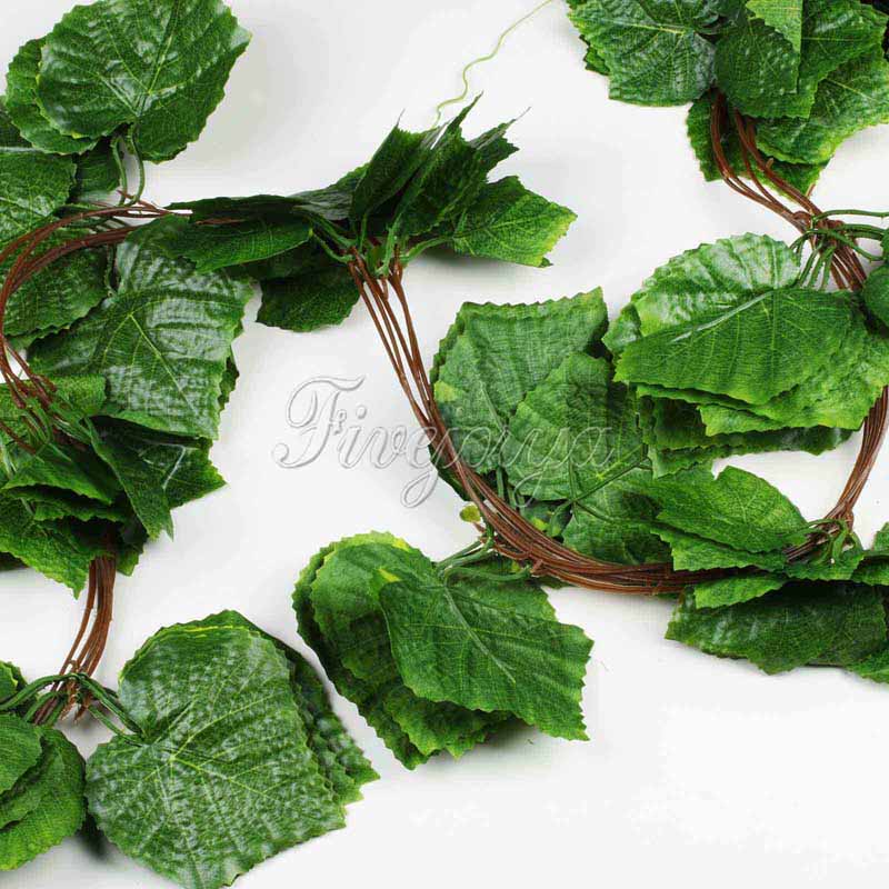 10pcs Artificial Vine Leaf Grape Garland Plants Ivy Fake Flowers Wedding Home Decor 7 5 Feet In Dried