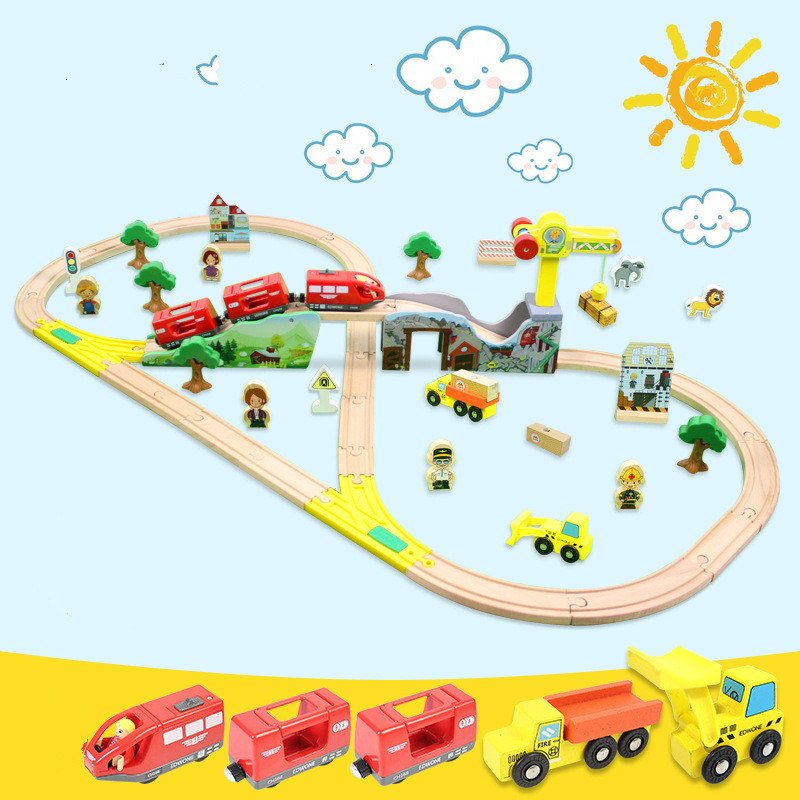70Pcs Magnetic Electric Train Toy Car Wooden Train Track Set Model Car Puzzle Building Trough Track