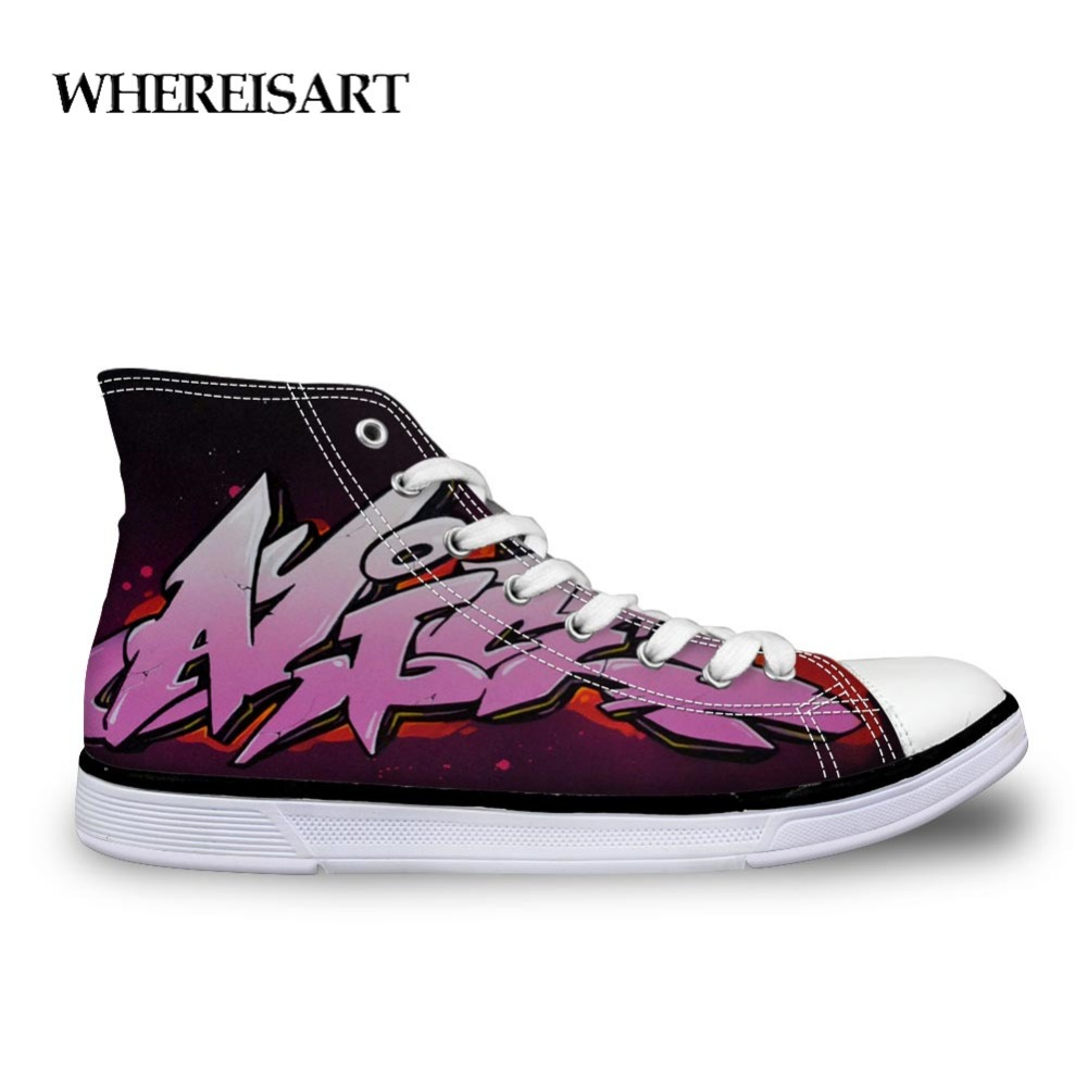 WHEREISART Mens Designer Sneakers Male Shoes Casual Fashion Men 39 s High Canvas Graffiti Shoes Comfortable Outdoor Sports Teen in Men 39 s Vulcanize Shoes from Shoes